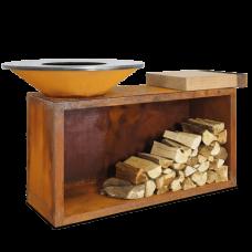 Ofyr Houtskool Barbecue en Sfeervuur | island corten 85 teak wood