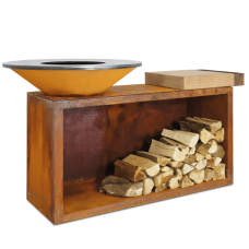 Ofyr Houtskool Barbecue en Sfeervuur | island corten 100 rubber wood
