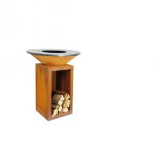 Ofyr Houtskool Barbecue en Sfeervuur | Cortenstaal 85x100 met Houtopslagplaats